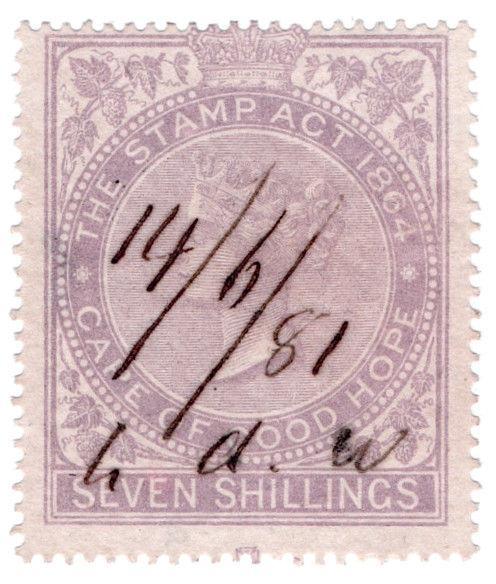 (I.B) Cape of Good Hope Revenue : Stamp Duty 7/- (1865)