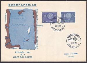 DENMARK SWEDEN 1960 Both issue on FDC - Grenaa - Versberg ship cancel.......1216