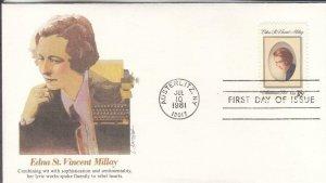 1981, Edna St. Vincent Millay, Fleetwood, FDC (E7845)