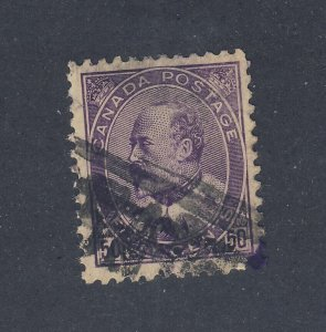 Canada Edward VII 50c Stamp #95-50c Used F/VF Guide Value = $130.00