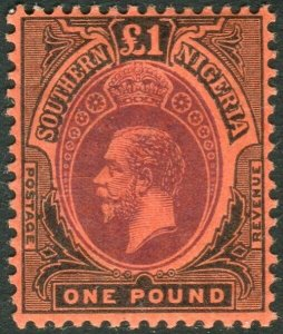 SOUTHERN NIGERIA-1912 £1 Purple & Black/Red lightly mounted mint example Sg 56