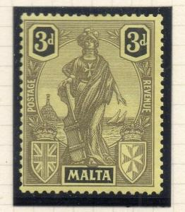 Malta 1926 Early Issue Fine Mint Hinged 3d. 321563