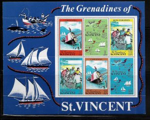 ST. VINCENT GRENADINES, NOT LISTED, MNH, S.S OF 6, 1971 TOURIST ISSUE.
