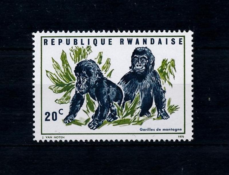 [52545] Rwanda 1970 Wild animals  Mammals Baby gorilla from set MNH