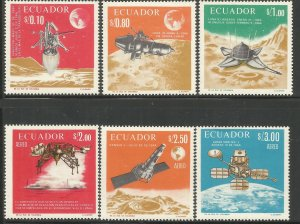 ECUADOR  758-758E  MNH,  MOON EXPLORATION
