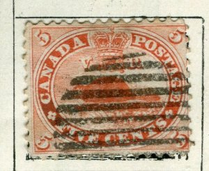 CANADA; 1865 early classic QV Beaver issue used 5c. value
