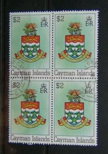 Cayman Islands 1980 $2 Coat of Arms in block x 4 Fine Used