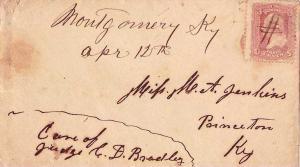 United States Kentucky Montgomery c1865 ms  1853-1916  3c Washington 1861 Iss...