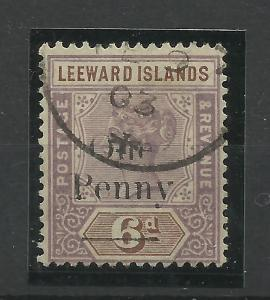 Leeward Is, 1902 Sg 18, 1d on 6d Dull Mauve & Brown overprint, F/used. {C/W 345}