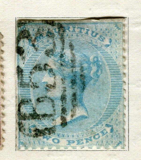 MAURITIUS;  1860 early classic QV No Wmk. issue used 2d. value, Perf flaws