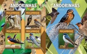 Mozambique 2016 fauna birds very nice klb+s/s MNH