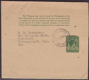 BERMUDA 1947 GVI ½d newspaper wrapper used to USA  (35350)