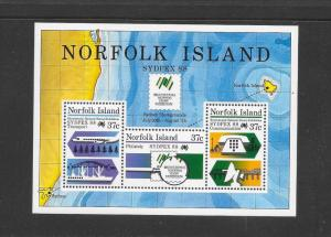 NORFOLK ISLAND - #439a-SYDPEX 88 S/S  MNH