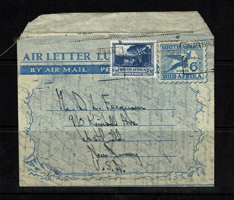 South Africa 6d aerogramme to USA - Lot 090417