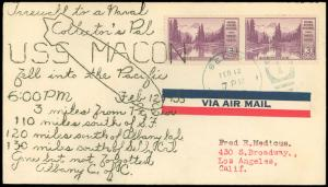2/12/35 USS MACON FAREWELL to a NAVAL COLLECTOR'S PAL Cachet, SELBY CALIF Cancel
