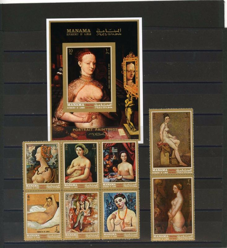 MANAMA 1972 PAINTINGS NUDES SET OF 8 STAMPS PERF. & S/S IMPERF. MNH