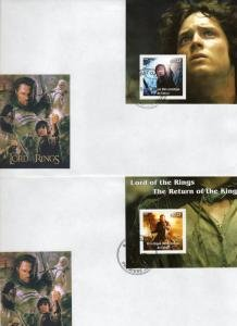 LORD OF THE RINGS 2 s/s Perforated VF in FDC
