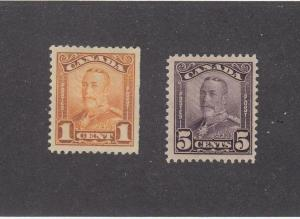 CANADA (MK1440) # 149,153  VF-MH  1,5cts  KGV SCROLL ISSUES /ORG,VIO CAT VAL $30