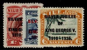 NEW ZEALAND - Niue GV SG69-71, SILVER JUBILEE set, NH MINT. Cat £11.