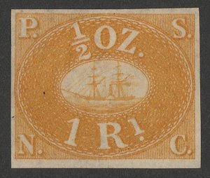 PERU : 1857 Pacific Steam Navigation Co 1R yellow, unissued. Only 800 printed.