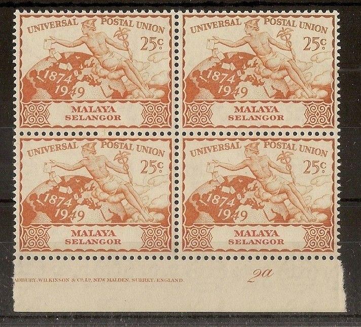 Selangor 1949 25c UPU Plate 2a Imprint Block MNH