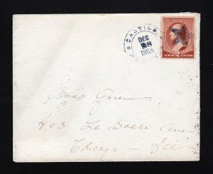LADIES COVER CASTILE NY CDS 1885 TO CHICAGO STAR KILLER ON SCOTT #210