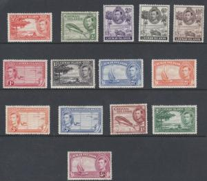 CAYMAN  1938 - 47  S G 115 - 126  SET OF 14 MH  CAT £110