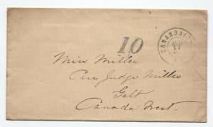 1863 Canandaigua NY double circle CDS stampless to Canada 10 rate [3272]