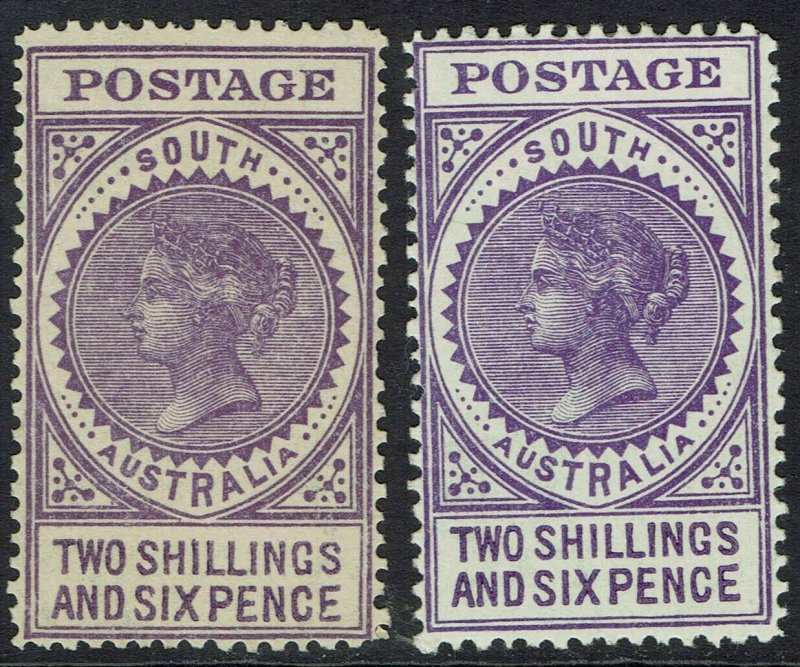 SOUTH AUSTRALIA 1904 QV THICK POSTAGE 2/6 BOTH SHADES WMK CROWN/SA