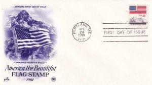 1981, Purple Mountain Majesty Flag Stamp, Art Craft/PCS, FDC (E11344)
