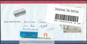 OMAN 1998 registered cover to NZ - unusual bar code label..................11815