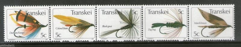 Transkei 1980 Insects Fishing Flies Wildlife Animals Fauna Sc 69a-e MNH # 0888