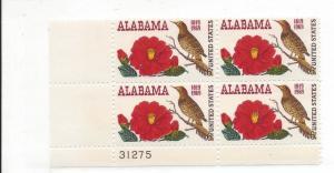 United States, 1375, Alabama - 150th Plate Block of 4, #31275, LL, MNH