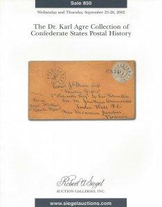 Karl Agre, Confederate Postal History, R.A. Siegel, Sale #850, Sept 25-26, 2002