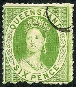 Queensland 1874 6d Proof in Green No wmk Perf 13 SCARCE (with gum creased)