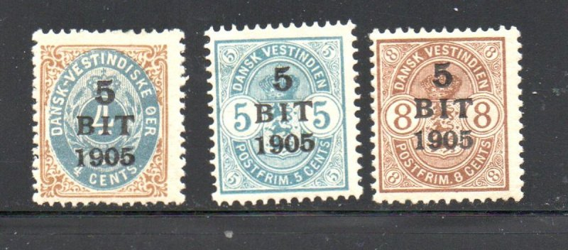Danish West Indies Sc 40-42 1905 5 bit overprints stamp set mint