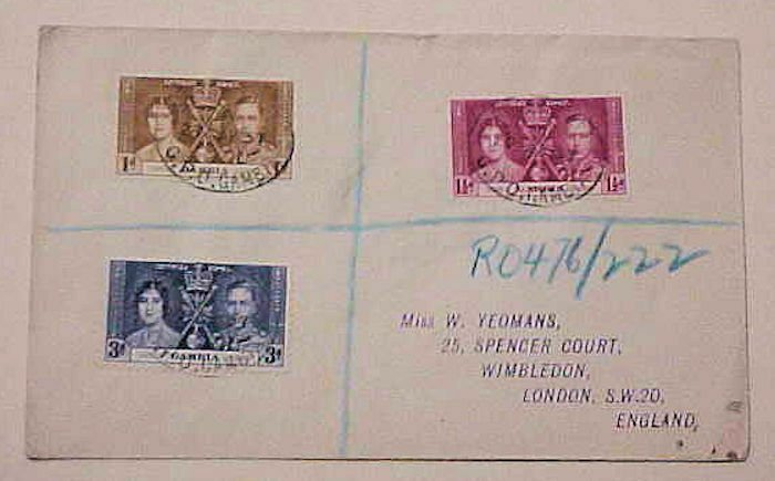 GAMBIA 1937 REGISTERED TO LONDON B/S