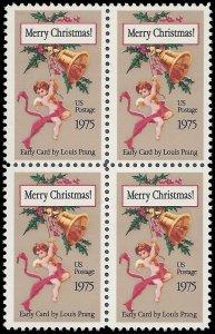 #1580c 10c Christmas Card, by Louis Prang 10.9 Perf Block/4 1975 Mint NH