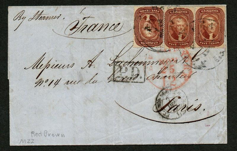 US Scott #28 x 3 on Cover, New Orleans to France by Steamer 1857