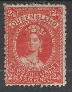 QUEENSLAND 1882 QV LARGE CHALON 2/6 WMK CROWN/Q SIDEWAYS