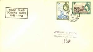 Tristan Da Cunha 1d QEII Carting Flax and 3d QEII Island Boat 1955 Gough Isla...
