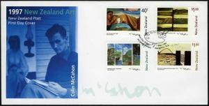 New Zealand 1437-1440,FDC. Paintings by Colin McCahon,1997.