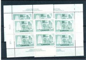 #334 matched set plate blocks 50c Textile Cat $120 Canada mint
