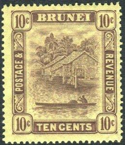 BRUNEI-1937 10c Purple/Yellow Sg 73 LIGHTLY MOUNTED MINT V42645