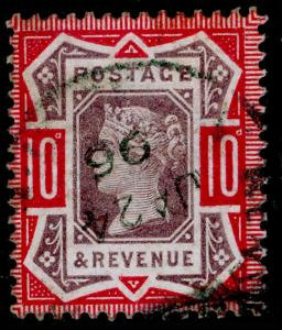 SG210, 10d dull purple & carmine, FINE USED, CDS. Cat £42.