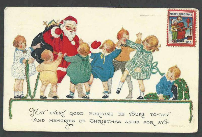 1932 PPC* Xmas Seal Type #WX64 Unchecked On Xmas Card W/Santa & Childrem Emb