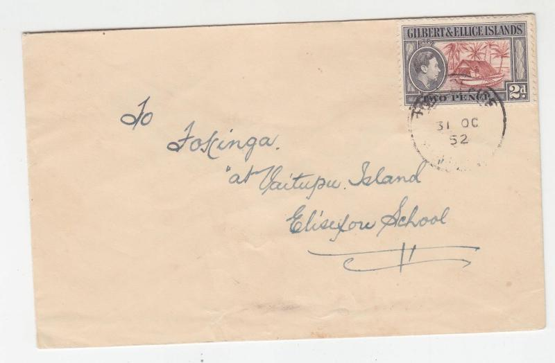 GILBERT & ELLICE ISLANDS, 1952 native cover, KGVI 2d. to Vaitupu Island
