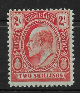 TURKS & CAICOS ISLANDS SG125 1909 2/= RED ON GREEN MTD MINT