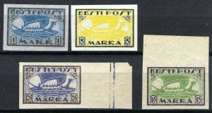 Estonia 1919-20, Vikingships, Mi 12y,13x, 23B, 24B, All MNH Cat +34,5€ (E10008)