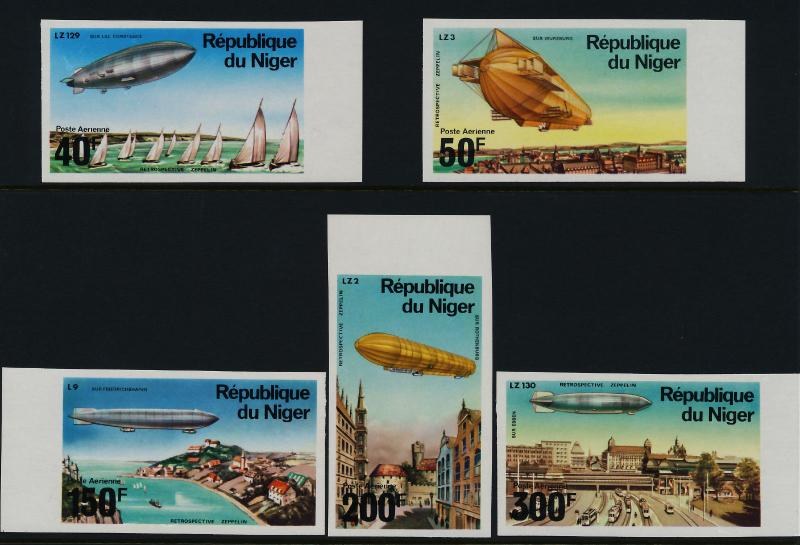 Niger C273-7 imperf MNH Zeppelin, Airships, Yachts, Trams, Architecture